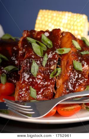 Slab Of Ribs With Ear Of Corn