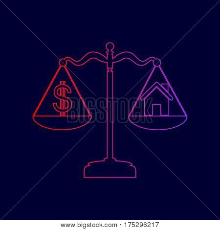 House and dollar symbol on scales. Vector. Line icon with gradient from red to violet colors on dark blue background.