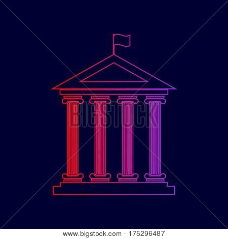 Historical building with flag. Vector. Line icon with gradient from red to violet colors on dark blue background.