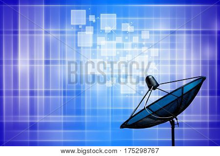 The satellite dish on blue and white background