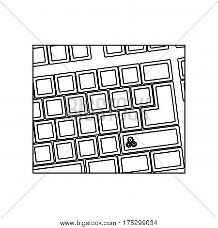 figure computer keyboard with gear symbol icon, vector illustraction
