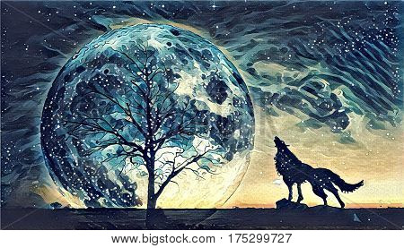 Fantasy landscape illustration artwork - Howling wolf and bare tree silhouettes with huge planet rising behind in starry sky