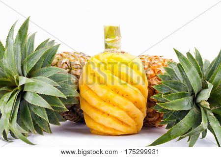 peeled  pineapple  on white background healthy pineapple fruit food isolated