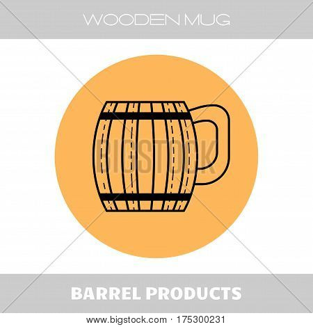Wooden mug for beer, drinks. Flat linear icon on the substrate