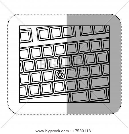 contour computer keyboard with recycle symbol icon, vector illustraction design
