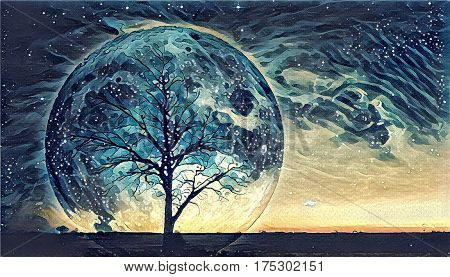 Fantasy landscape Illustration artwork - Lonely bare tree silhouette with huge planet rising behind it and galaxy in the sky. Elements of this image are furnished by NASA