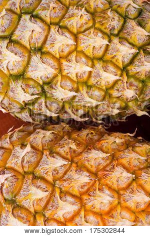 ripe pineapple shell  on texture background healthy pineapple fruit food isolated