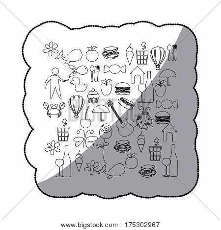 sticker sketch contour set elements daily life icon vector illustration