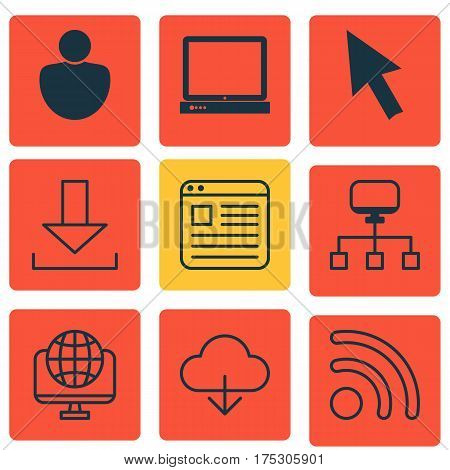 Set Of 9 World Wide Web Icons. Includes PC, Mouse, Login And Other Symbols. Beautiful Design Elements.
