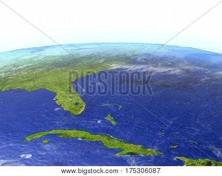 East Coast Of Usa On Realistic Model Of Earth
