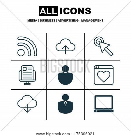 Set Of 9 World Wide Web Icons. Includes Wifi, PC, Blog Page And Other Symbols. Beautiful Design Elements.