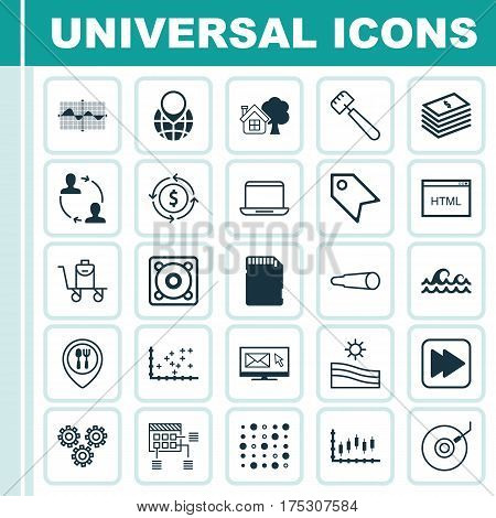 Set Of 25 Universal Editable Icons. Can Be Used For Web, Mobile And App Design. Includes Elements Such As Meadow, Food Mapping, Price Stamp And More.