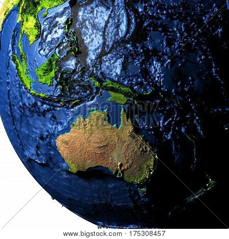 Australia On Earth With Exaggerated Mountains