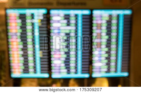 Blur Of Arrivals And  Departure Board At Nternational Air Port.