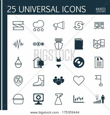 Set Of 25 Universal Editable Icons. Can Be Used For Web, Mobile And App Design. Includes Elements Such As Discount Location, House, Rubber Boot And More.