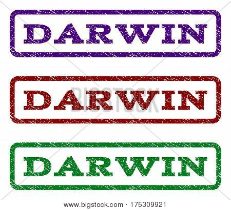 Darwin watermark stamp. Text tag inside rounded rectangle frame with grunge design style. Vector variants are indigo blue, red, green ink colors. Rubber seal stamp with scratched texture.