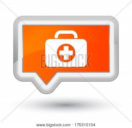 First Aid Kit Bag Icon Prime Orange Banner Button