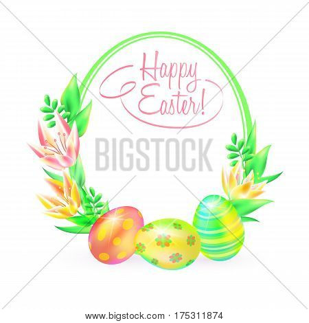 Festive vector ground. Happy Easter. Easter eggs and flower in white background. Frame and space for text. Design a paschal greeting card or banner