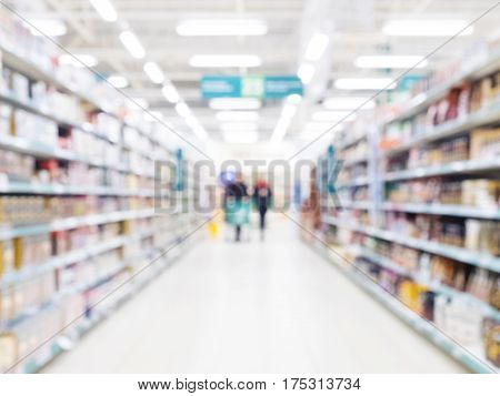Abstract Blurred Supermarket Aisle