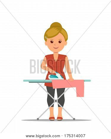 Cartoon woman housewife ironing clothes on iron board. Modern girl busy household chores. Concept design housework in flat style. Vector Illustration.