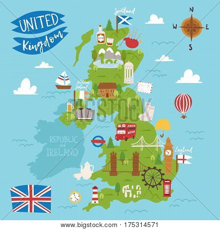 United kingdom great britain map travel city tourism transportation on blue ocean europe cartography and national landmark england famous flag vector illustration. Traditional geography symbols.