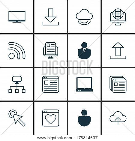 Set Of 16 World Wide Web Icons. Includes Account, Website Page, Human And Other Symbols. Beautiful Design Elements.