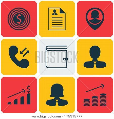 Set Of 9 Management Icons. Includes Business Woman, Wallet, Cellular Data And Other Symbols. Beautiful Design Elements.