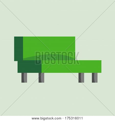 Green couch sofa isolated home seat. Style interior comfortable sofa isolated fashion texture decor Contemporary room color luxury sofa isolated vector decor single elegance armchair.