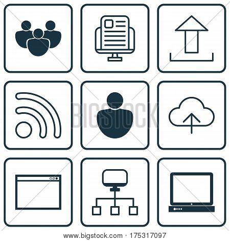 Set Of 9 Web Icons. Includes Data Synchronize, Program, Wifi And Other Symbols. Beautiful Design Elements.