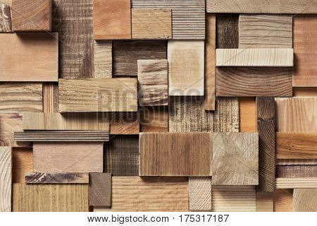 Natural wooden blocks in collage background. Used various forms and textures of wood.