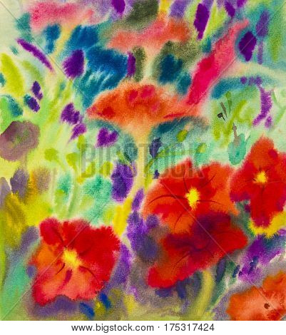 Abstract watercolor original painting red color of petunia flowers and emotion in green leaves background. Hand  painted Impressionist, abstract image,  illustration.
