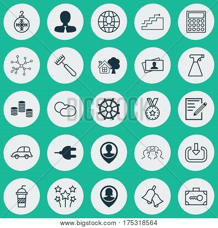 Set Of 25 Universal Editable Icons. Can Be Used For Web, Mobile And App Design. Includes Elements Such As Boat Helm, Security Baggage, Tree Toy And More.