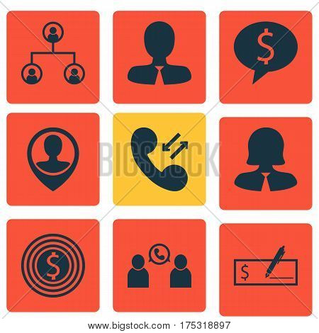 Set Of 9 Human Resources Icons. Includes Business Deal, Tree Structure, Manager And Other Symbols. Beautiful Design Elements.