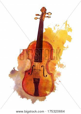 A watercolour and ink drawing of a violin on a golden texture stain with copy space