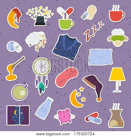 Set of colorful sleep and insomnia icon