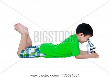 Full Body Of Asian Child Observed Through A Microscope Biological Preparations.