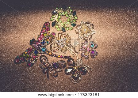 Golden Brooches Set