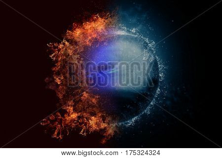 Planet Neptune in fire and water. Concept sci-fi artwork