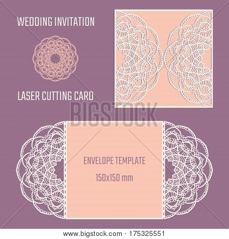 DIY laser cutting vector envelope. Wedding die cut invitation template. Cutout silhouette card. Fretwork envelope. Paper cutting. Scrapbook cutout template.