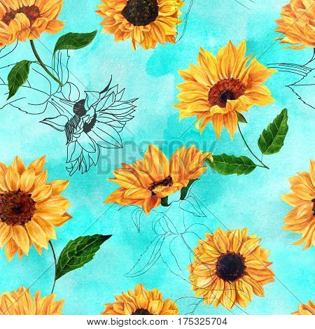 A retro style seamless texture with hand drawn vibrant watercolor sunflowers on a vibrant turquoise background