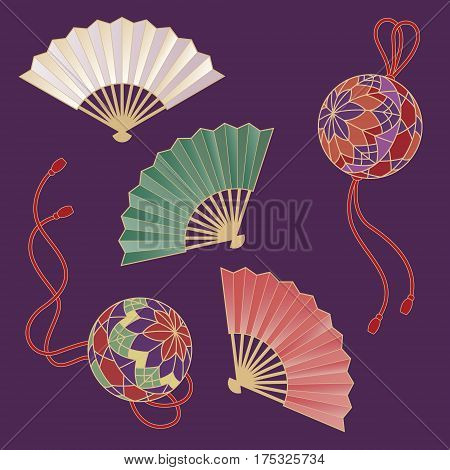 Japanese traditional hand fans and handballs with tassel