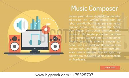 Music Composer Conceptual Banner | Great banner flat design illustration concepts for Business, Creative Idea, Concept, Marketing and much more
