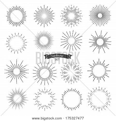 Vector sunburst black set isolated on white background. Vector Illustration