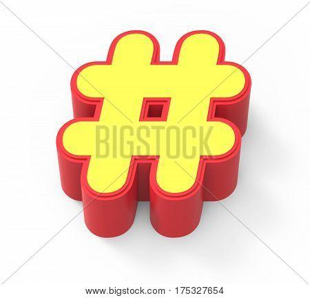 Yellow Hashtag Mark