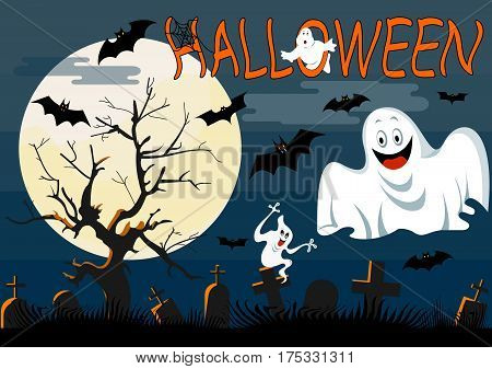 Ghosts  with Halloween background . Vector illustration