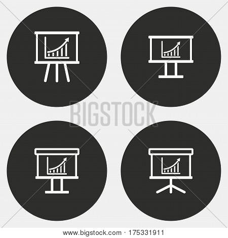 Info board vector icons set. White illustration isolated for graphic and web design.