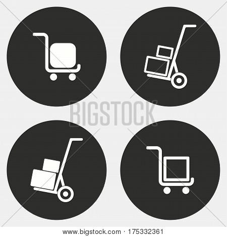 Handcart vector icons set. White illustration isolated for graphic and web design.