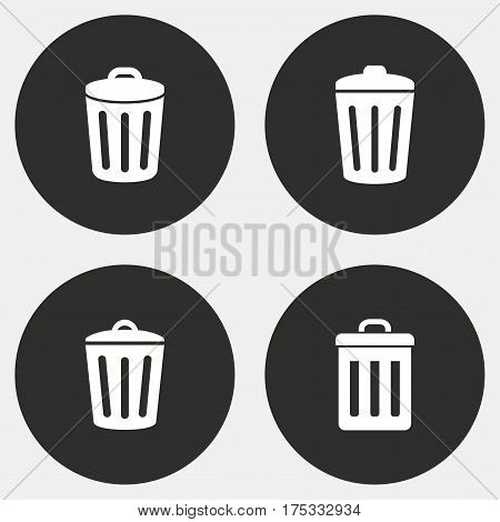 Bin vector icons set. White illustration isolated for graphic and web design.