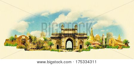 high resolution panoramic watercolor BOMBAY city illustration