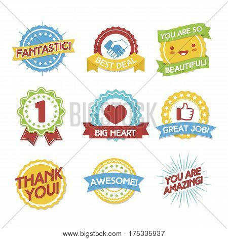 Awards and compliments label set. Flat style design illustration icon. Vector Illustration